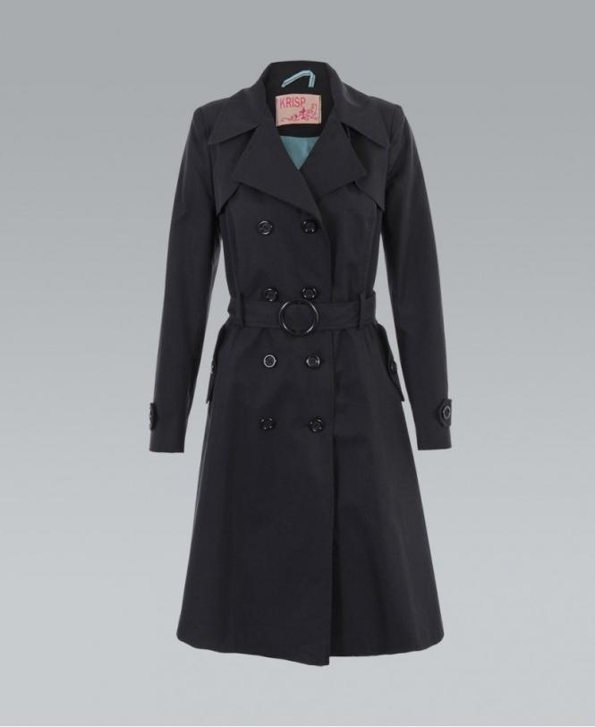 sale uk select for original sleek KRISP Long Double Breasted Black Mac Coat