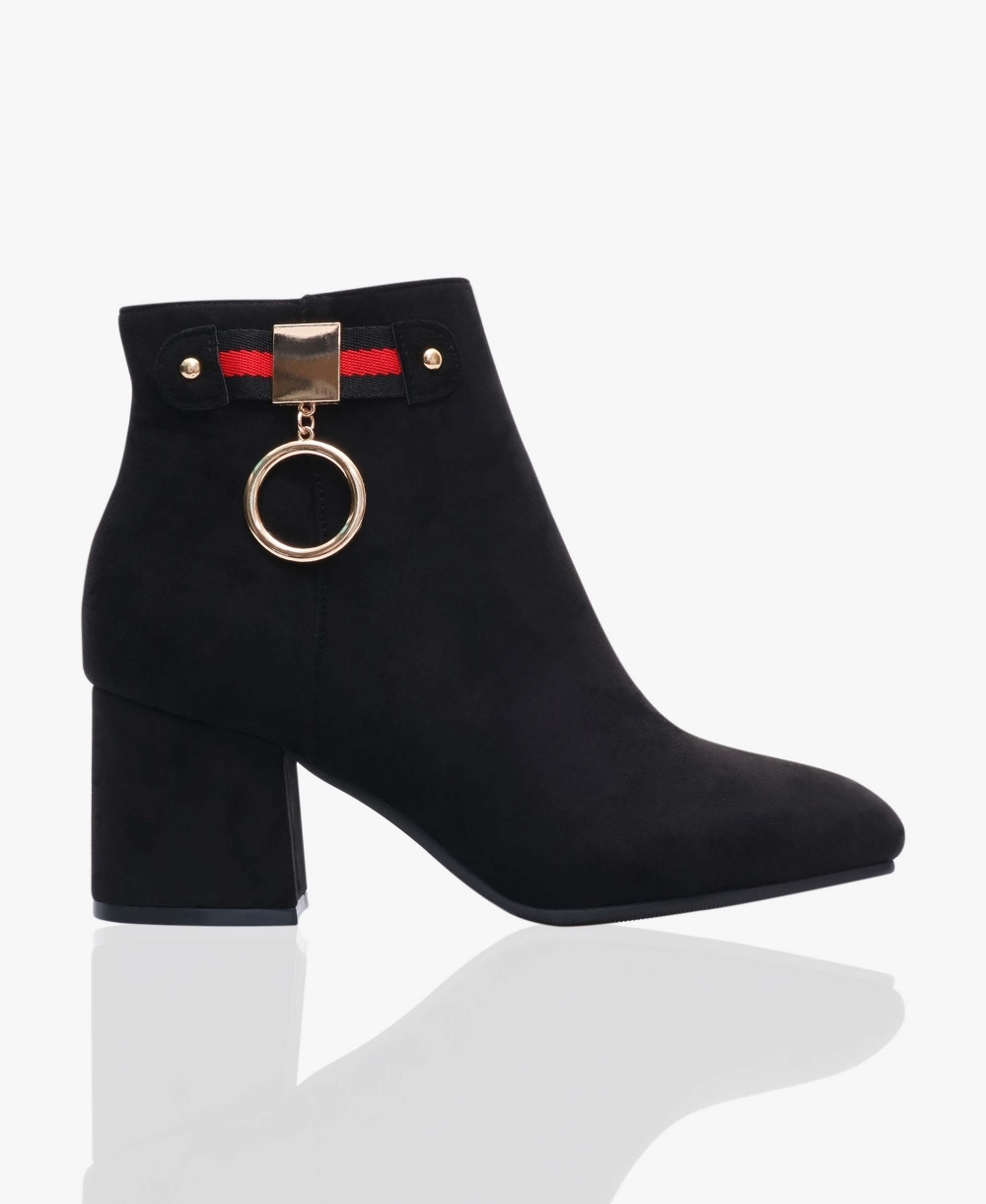f6850566ce2a Low Heel Ankle Boots with Charm