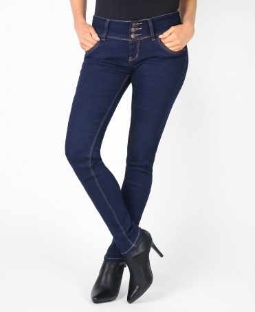 Low Rise 3 Button Skinny Jeans
