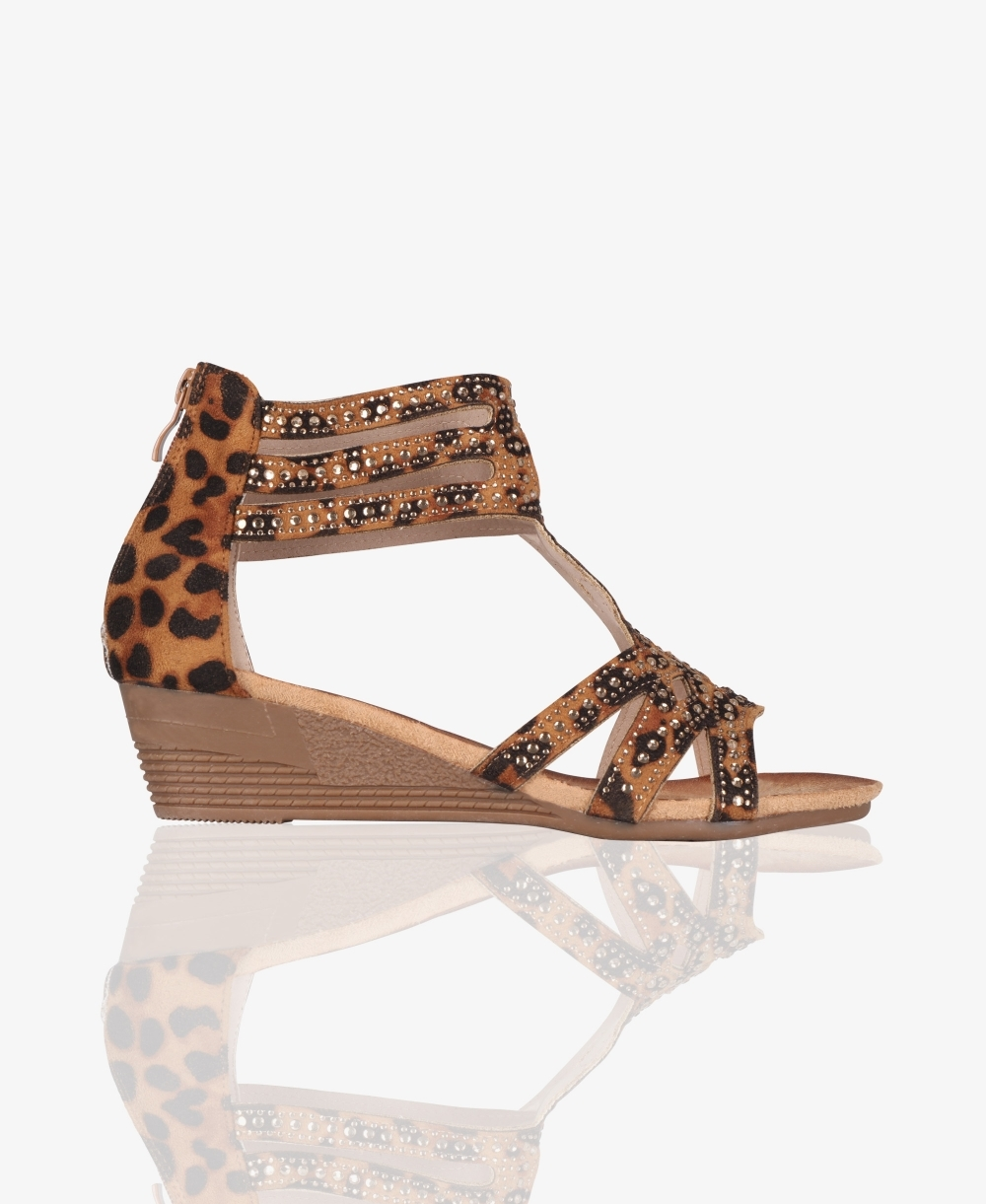 6df7b68000 Sandals | Low Wedge Heel Leopard Sandals | Krisp