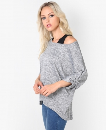 Lurex Knit 2-in-1 Batwing Top