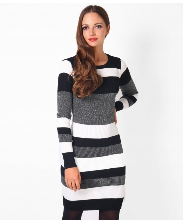Lurex Striped Mini Jumper Dress