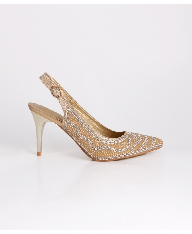 KRISP Lustrous Heel Jewelled Slingbacks
