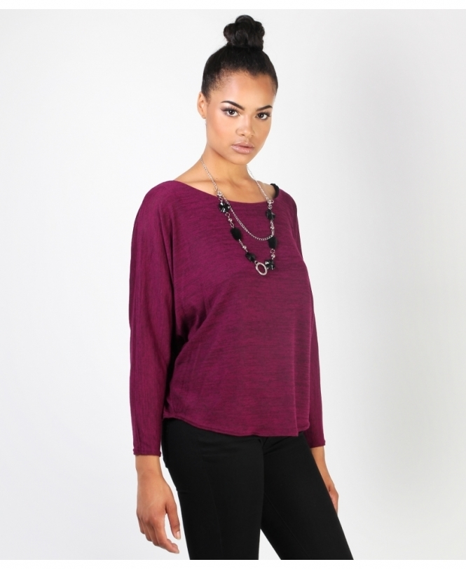 KRISP Marl Pattern Dolman Top with Necklace