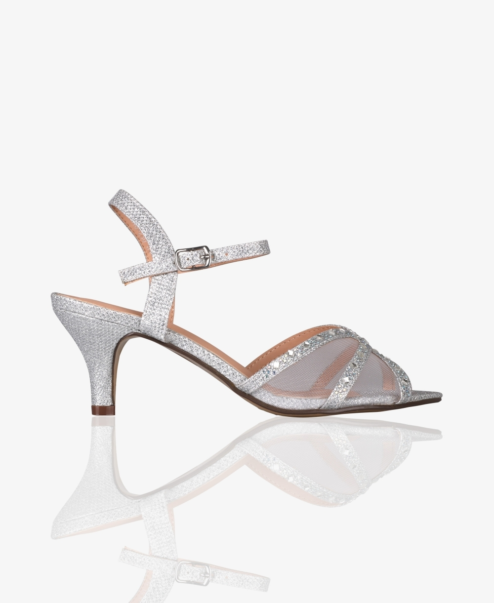 fb4c0d48208e5 Heeled Sandals | Mesh & Glitter Kitten Heel Sandals | Krisp
