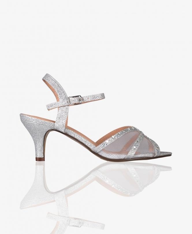 Mesh \u0026 Glitter Kitten Heel Sandals