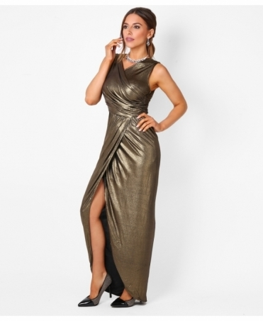 Metallic Drape Wrap Maxi Dress