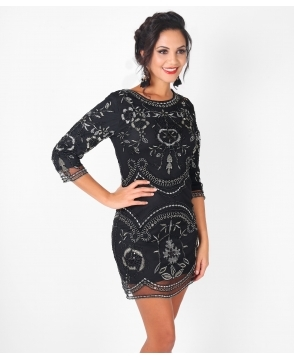 KRISP Metallic Embroidered Bodycon Party Dress