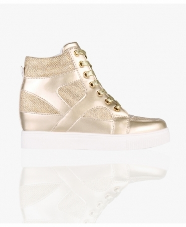 Metallic High Top Wedge Trainers