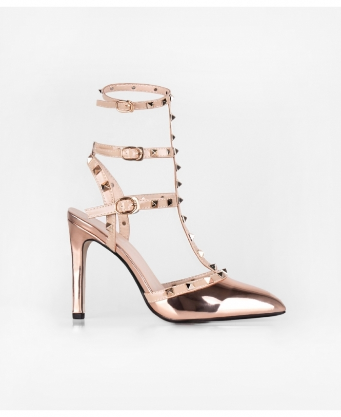Gold Studded Patent Ankle Strap Heels