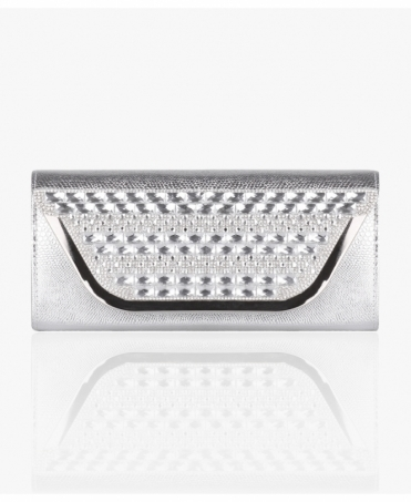 Metallic Snakeskin Diamante Clutch