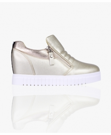 Metallic Zipper Wedge Trainers