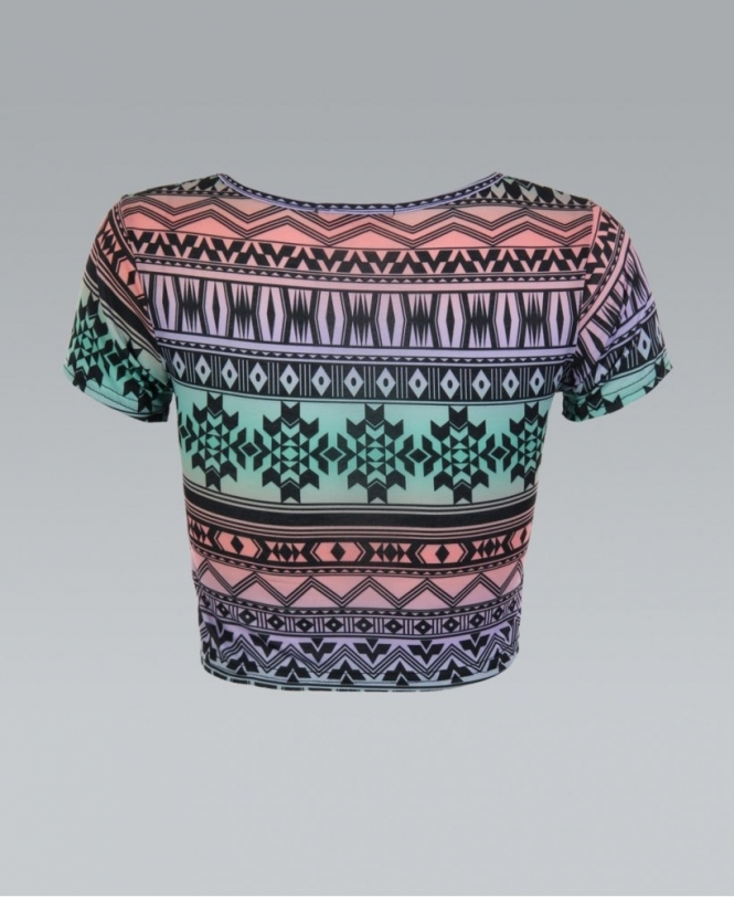82bd19a803a78 KRISP Multi Coloured Nordic Tribal Print Crop Top - Womens from ...