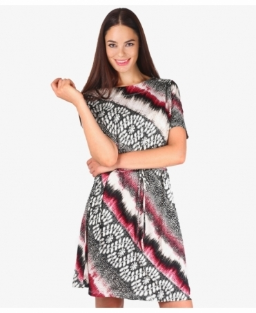 Multi Print Belted Tunic Dress