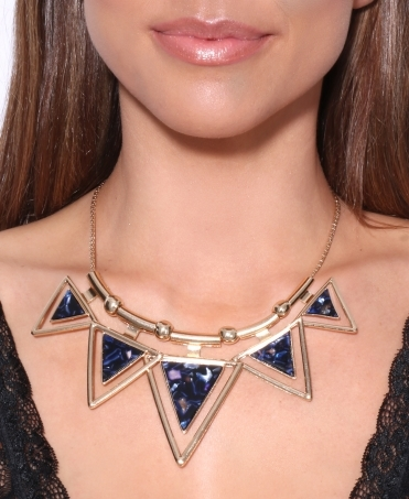 Navy Triangle Statement Necklace