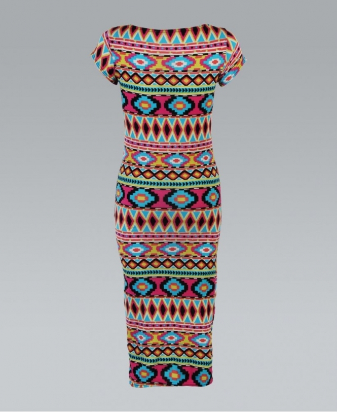 dad99e1685a95 KRISP Neon Tribal Print Bodycon Midi Dress - Dresses from Krisp ...