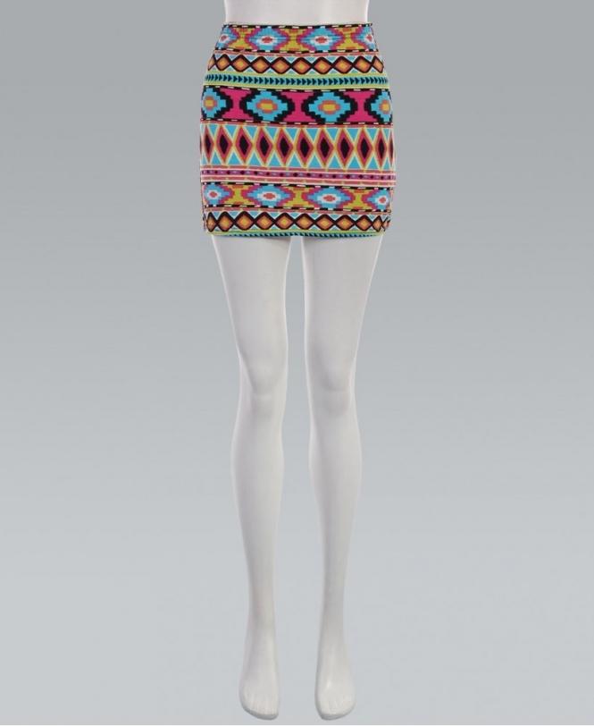 96bc2eb6ff7e7 KRISP Neon Tribal Print Bodycon Mini Skirt - Womens from Krisp ...