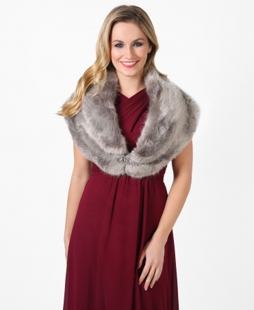 Occasion Fur Stole with Brooch