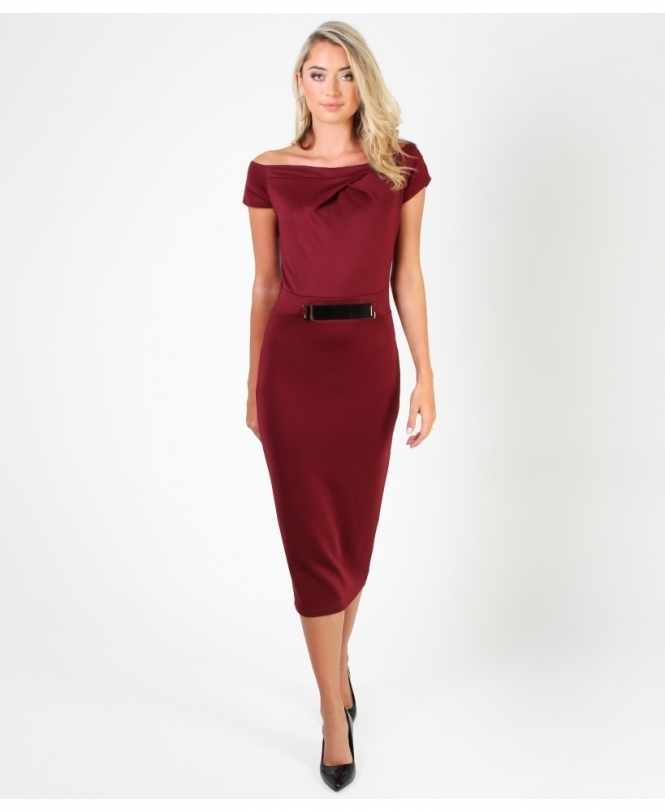 KRISP Off Shoulder Bodycon Midi Dress