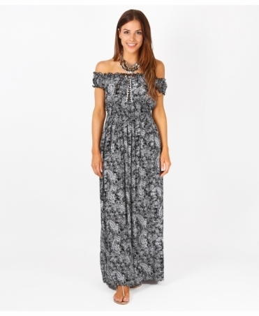 Off Shoulder Lace Up Maxi Dress
