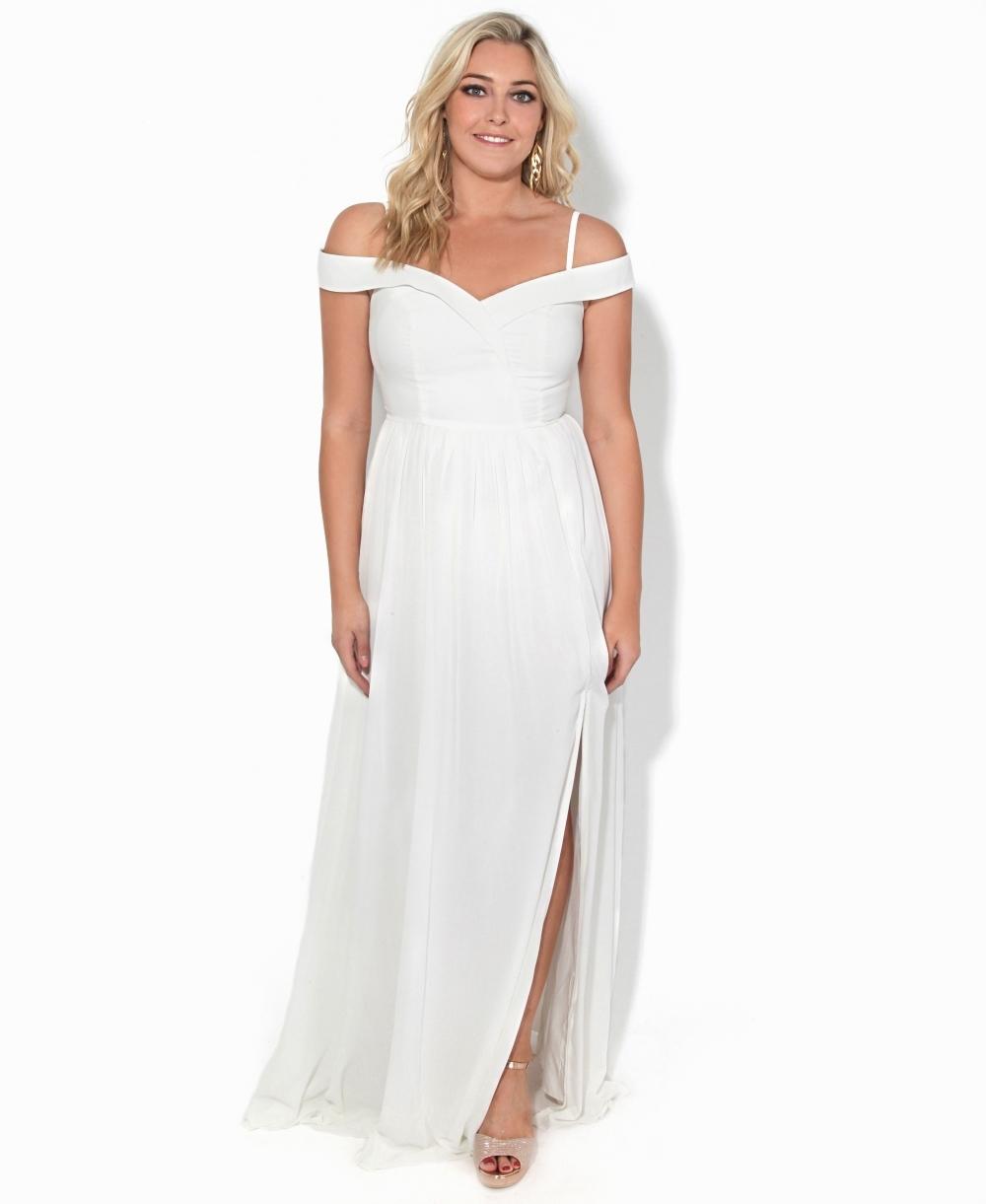 7897b149 Maxi Dresses | Off Shoulder Slit Front Maxi Dress | KRISP