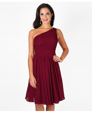 One Shoulder Chiffon Midi Dress