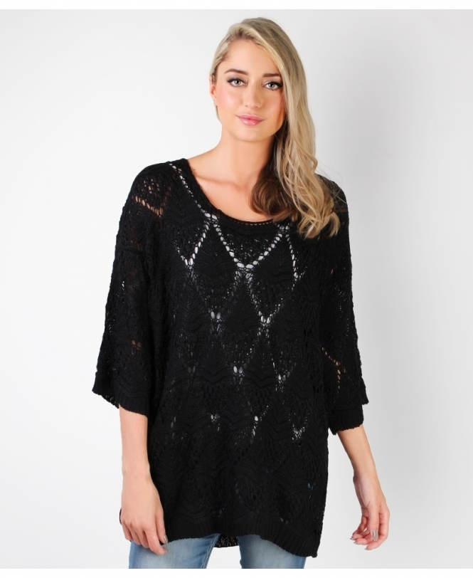 KRISP Open Knit Longline Jumper