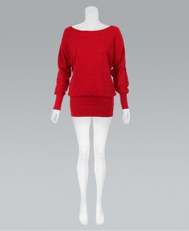 a79affd22560c1 KRISP Oversize Batwing Sequin Knit Red Jumper - Womens from Krisp ...