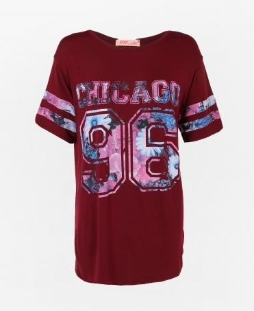 Oversized 'Chicago' Baseball T-shirt
