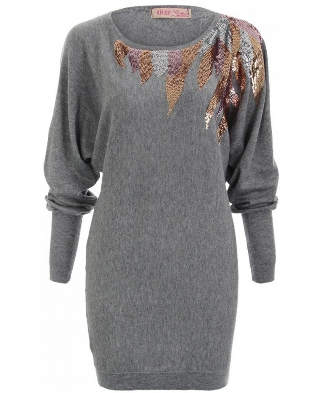 7a62748096a440 KRISP Oversized Fine Knit Feather Sequin Grey Jumper - Womens from ...