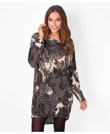 Oversized Paisley Print Tunic Top