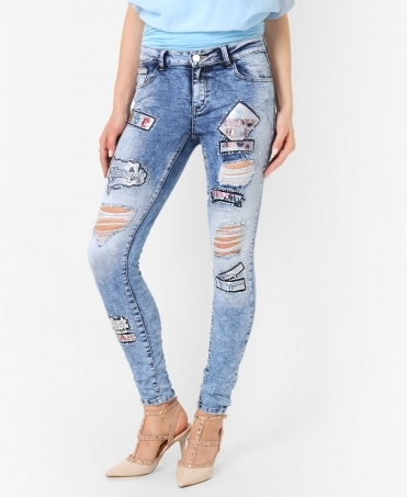 Patchwork Applique Ripped Skinny Jeans