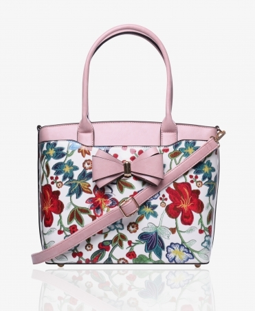 Patent Floral Front Tote Bag