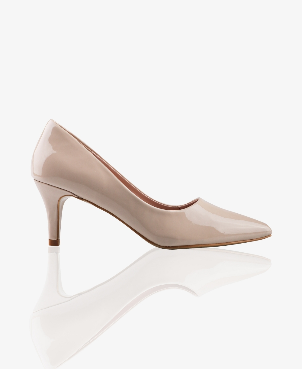 d8a64ba487a Patent Pointed Kitten Heel Courts
