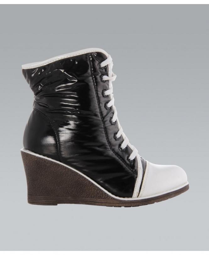 KRISP Patent PVC Monochrome Wedge Boots