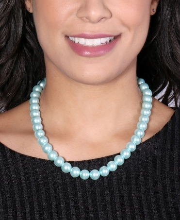 Pearl Bead Necklace with Diamante Ball