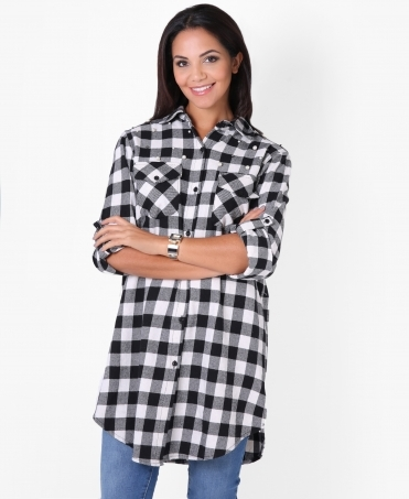 Pearl Beaded Check Shirt Dress