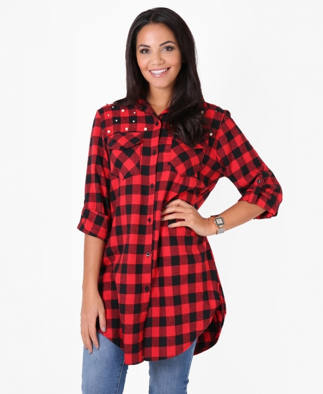 KRISP Pearl Beaded Check Shirt Dress