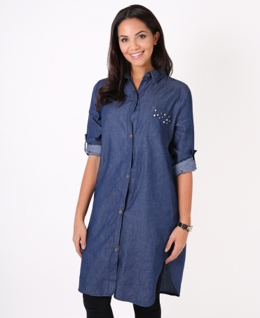 Pearl Beaded Denim Shirt Dress