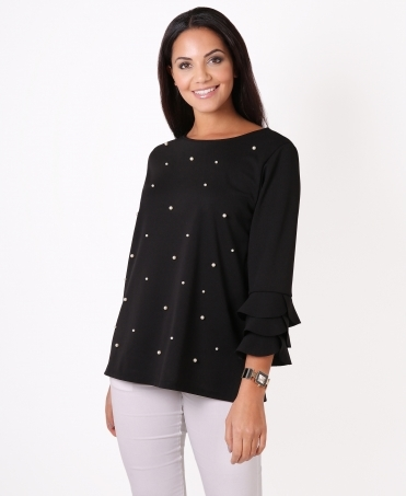 Pearl Beaded Frill Sleeve Top