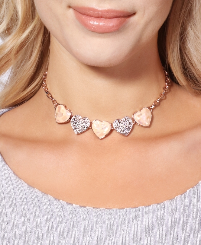 KRISP Pearl & Crystal Hearts Necklace