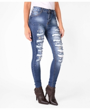 Pearl Embellished Ripped Skinny Jeans
