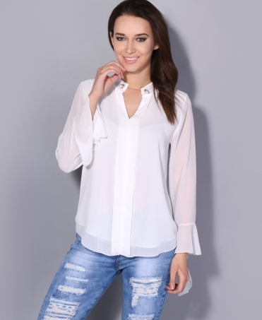 Pearl Neck Bell Sleeve Chiffon Blouse