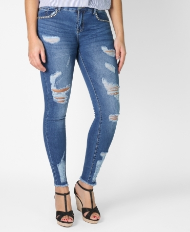 Pearl Pocket Distressed Jeans