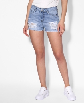 KRISP Pearl & Rip Denim Shorts