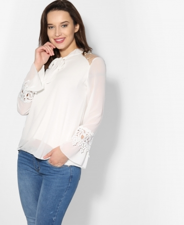 Pearl Shoulder Chiffon Pussy Bow Blouse