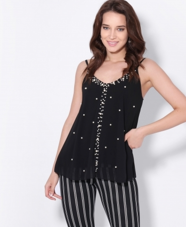 Pearl Spotted Chiffon Swing Top