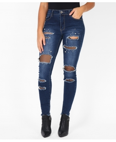 Pearl Spotted Fishnet Knee Jeans