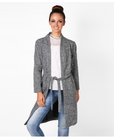 Pearl Spotted Long Cardigan