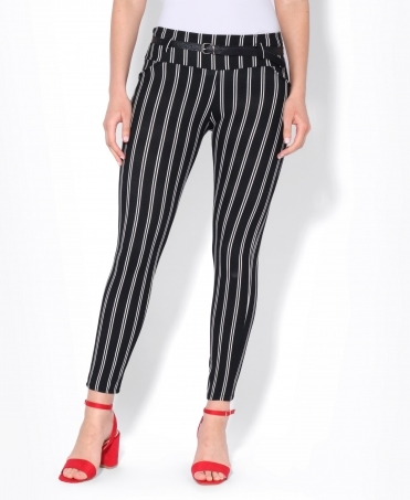 Pinstripe Belted Pencil Trousers